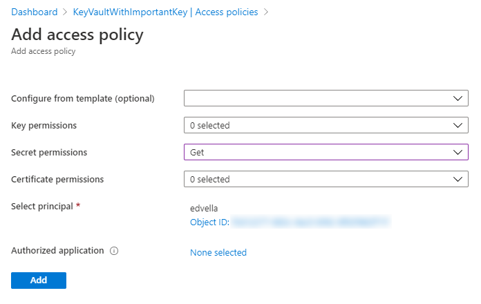 Access policy configuration