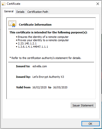 Certificate details
