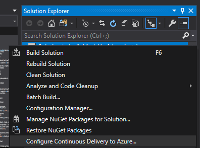 Configue Continuous Delivery menu in Visual Studio 2019