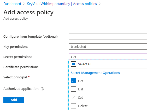Add access policy with get secret permission