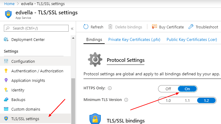 Switch to toggle HTTPS only mode