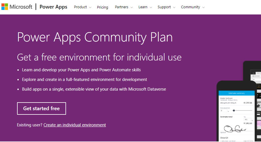 Activate Power Apps Community Plan