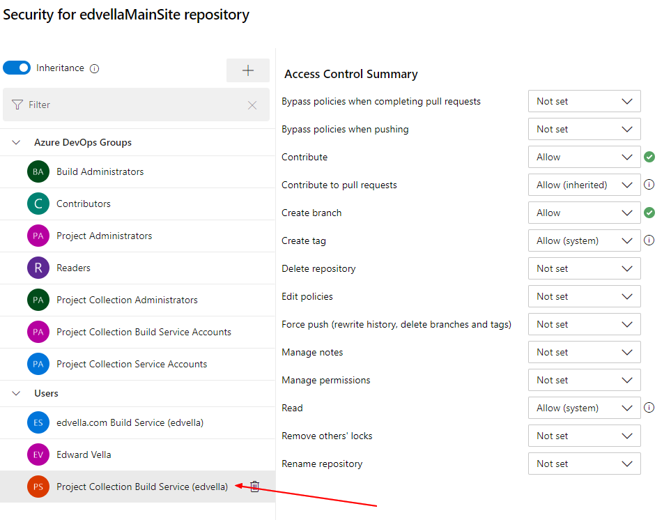 Changing repository settings
