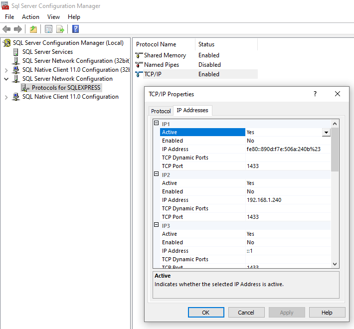 Configuring SQL Server network settings