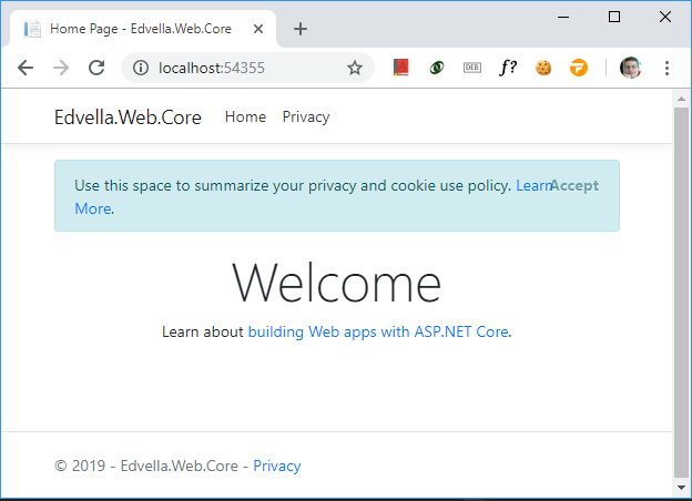 .Net Core Welcome page