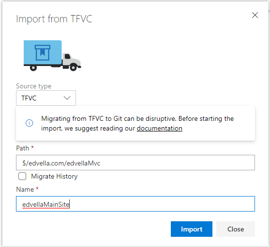 Setting the Import repo options